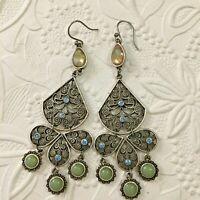 Lacy Filigree Silver Plated Dangle Drop Earrings Blue Rhinestones Green Pierced