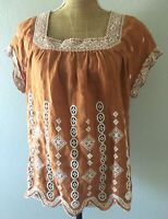 Johnny Was Boho Hippie Brown Embroidered Linen Aztec Peasant Blouse Top Shirt XS