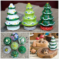 More details for 20x unpainted wooden peg dolls wood cake tabletop christmas tree ornament decor