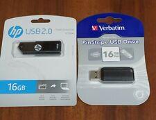 1 each Hp & Verbatim USB 16 gb Flash Drive store n go memory stick