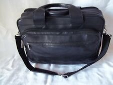 "MURANO BLACK LEATHER BUSINESS  CASE MESSENGER BAG BRIEFCASE 15"" LAPTOP SPACE"