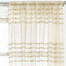 """Assorted Embroidered Voile Slot Top Panels Pairs Multi Colours & Patterns Pleate Cream 59x54"""" 150x137cm"""