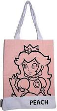 SUPER MARIO BROS-PEACH 2D cotton TOTE shopping bag-NUOVA & UFFICIALE NINTENDO