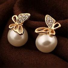 bijoux femmes cristal orpapillon perle oreille boucles d'oreilles cadeau haut PM