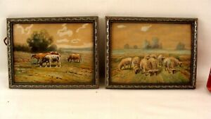 PR Antique Herbert Fish Cow & Sheep Landscape W/C Paintings