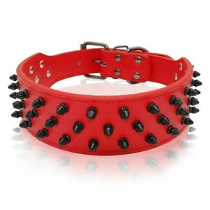 Spiked Dog Collar For Pitbull PU Leather Large Studded Adjustable Boxer Mastiff
