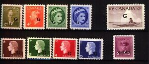 CANADA - 'OFFICAL' STAMPS O/PRINT 'G'' FINE UNMOUNTED MINT Selection