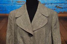 ESCADA Sz 42 EU / 12 US Gray Brown Button Front Blazer Silk Wool Jacket Speckled