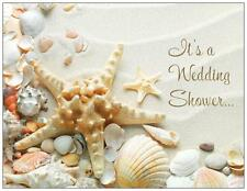WEDDING Bridal SHOWER WHITE SAND SHELLS Beach Flat Cards Envelopes Seals