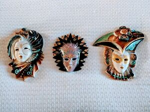 Sandini & Bertoncello Ceramic Venetian Masks Set of 3, Wall Decor. Made in Italy