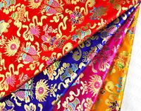 "28"" TIBETAN SILK DAMASK BROCADE FABRIC : PISCES GEM CONCH EIGHT BUDDHA TREASURES"