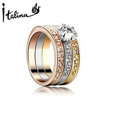 3Pcs Ring Set For Women With Austrian Crystal Stellux Zirconia Include 3 Color