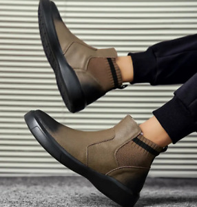 Mens Ankle Boots Round Toe Flat Slip-on Comfort Cotton Casual Pumps Plus Sports