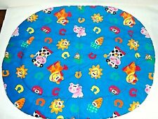 Fisher Price Baby Padded Blanket Play Mat Bright Colors Blue Multi Oval Clean EC