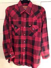 Vtg Ely Plains Western Shirt Pearl SnapsLong SleeveRed Plaid Mens SZ 16-33