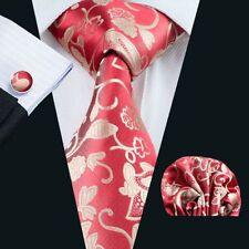 Rot Gold Paisley Blumen Edle Seide Krawatte Set Einstecktuch Knöpfe Breit K181