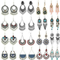 Women Boho Silver Geometric Dangle Drop Hook Tassel Ear Stud Earrings Jewelry