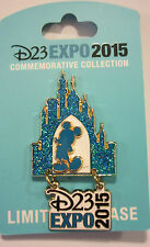 Disney D23 EXPO 2015 Pin Mickey Castle Logo Dangle Glitter