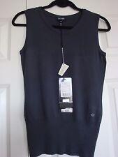 BNWT Auth Charcoal Escada Swarovski Sleeveless Shirt Top Sweater sz X Small Saks