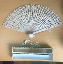 New listing Vintage Chinese Folding Wooden Hand Fan in Original Box with Cross!