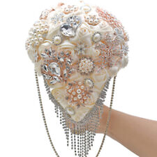 Wedding Flower Bouquet Satin Rose Rhinestone Crystal Pearls Bridal Bouquets 2020