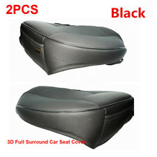 3D Full Surround Car Seat Cover Seat Protector Accessories Black PU Leather 2Pcs
