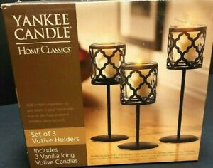 Yankee Candle Rustic Metal Votive Holder Set On Stems Vanilla Icing Scent Candle