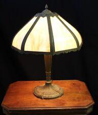New listing Royal Art Glass Co. Art Deco Double Cluster Brass Lamp w/8 Slag Glass Panels