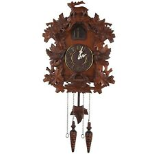 Cuckoo Clock Hand Crafted Wood Decorative Carved w/ Auto Night Shut off CooCoo