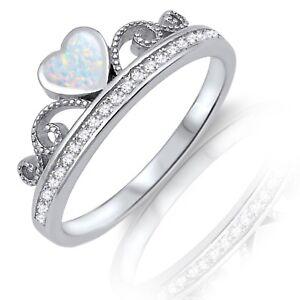 White Fire Opal Heart CZs Sterling Silver Crown Eternity Ring