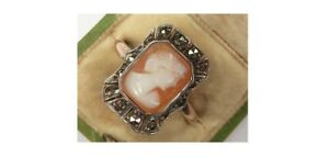 VINTAGE GOLD Silver & REAL SHELL CAMEO Marcasite SET RING