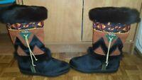 Vintage Tecnica Skandia Black Goat Fur Navajo Boots Women EUR 36 US 5