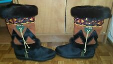 Vintage Tecnica Skandia Black Goat Fur Navajo Boots Women EUR 36 US 6