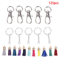 125xKey Chain Ring with Chain Tassel Pendants DIY Key Ring  Jewelry Makin_ZT