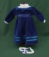 "American Girl 18"" Retired SAMANTHA BLUE VELVET with LACE DRESS + HEADBAND REPRO"