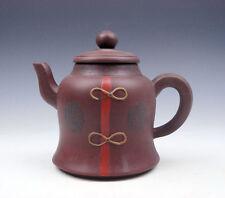 Superbo Sottile Cinese Yixing Zisha Intagliati Pesca Ceramica Teiera Con Sigillo Asian Antiques