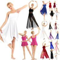 Women Modern Lyrical Dance Costume Contemporary Dress Asymmetric High-Low Dress