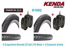 """2 Copertoni KENDA 27,5x1,75 K1082 Nero + 2 Camere per Bici 27,5"""" MTB Mountain Bi"""
