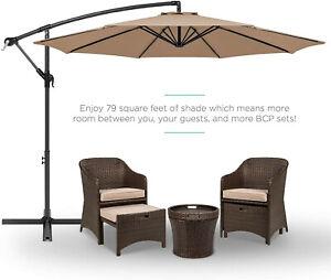 BROWN Patio 10ft Offset Umbrella Cantilever Hanging Market Umbrella Outdoor