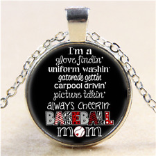Baseball mom Photo Cabochon Glass Tibet Silver Pendant Necklace