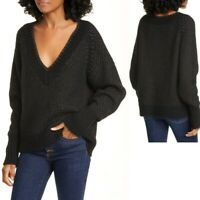 Veronica Beard NWT Womens S Mirnie Metallic V Neck Sweater Alpaca/Wool Blend