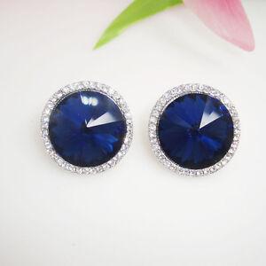 Silver Tone Cubic Zirconia Women's Round Shape Stud Earrings Royal Blue