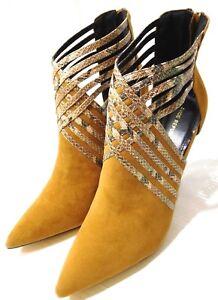 Women's Shoe Republic LA Snake Embossed Stiletto Heel Pointed Toe Tan US10M NEW