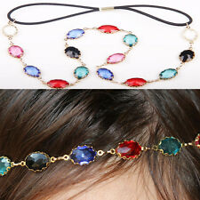 Lady Fashion Alloy Rhinestone Head Chain Headband Piece Hair Band Accessories