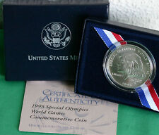 Special Olympics 1995 World Games BU 90% Silver Dollar US Mint Coin Box and COA