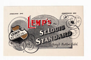 1900s WILLIAM LEMP BREWERY, ST LOUIS MISSOURI LEMP'S STANDARD PRE-PRO BEER LABEL