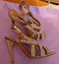 Next Occasion UK6 EU39 US8 mocha brown satin and diamante sandals - little wear
