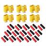12 Stück (6 Paar) XT60 Nylon ESC Lipo Akku Stecker Buchse inkl. Schrumpfschlauch