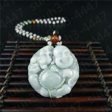 Certified Natural Jadeite Emerald Gemstone Maitreya Buddha Pendant Bead Necklace