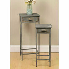 Set of Two Metal Bedside Accent Tables Farmhouse Rustic Distressed Vintage Look